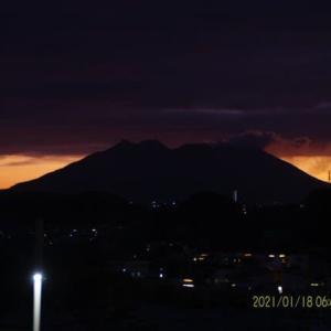 2021年01月18日、朝の桜島