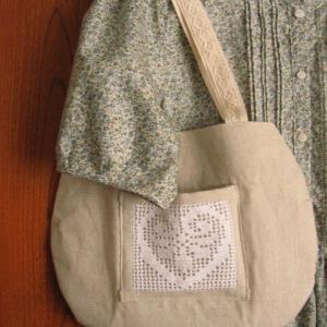 過去作品☆初夏な小花柄ワンピース&リネンとレースのバッグ