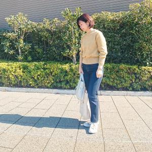 【小柄アラフォーコーデ】コットンニット×デニムの休日カジュアルコーデ