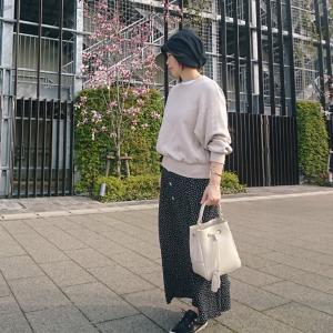 【小柄アラフォーコーデ】スウェット×マキシスカートのお花見コーデ