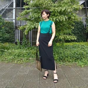 【小柄アラフォーコーデ】グリーン×黒の大人が着られるサロペットスカート