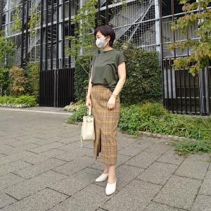 【小柄アラフォーコーデ】オリーブ色×チェック柄スカートで秋コーデ