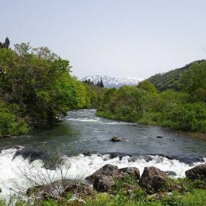 「道の駅胎内(新潟県・胎内市)」流れがはやく、広大な胎内川と山々を激写です。 パシャッ! Σp[【◎】]ω・´)