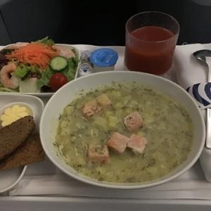 ビジネス機内食 サーモンスープ