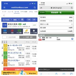 【的中】5.10 新潟大賞典 回収率1,000%!