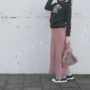 しまむらのニットスカートはHKWLで可愛い色で暖かくてマキシ丈で発売日に900円ですよ!?