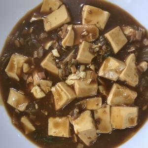 トラウトサーモンお造りとマーボー豆腐