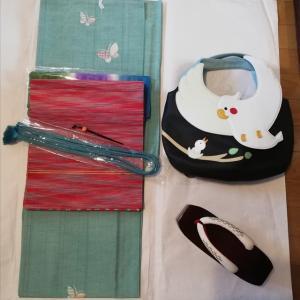 単衣の紬の平置きコーデ
