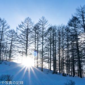 冬の入笠山と星空