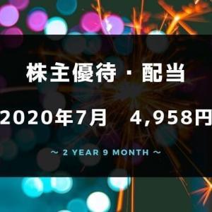 【株主優待・配当金生活】2020年7月の収入は4,958円!赤字圏から脱出できない