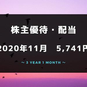 【株主優待・配当金生活】2020年11月の収入は5,741円!プラ転したよ