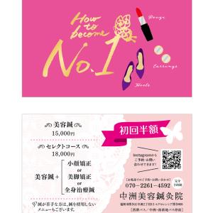 制作実績・ショップカード|中洲美容鍼灸院 さま