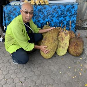 インドネシア人が大好きなフルーツ!でかい!&天然石・スワロフスキーが飾りのヘアゴム