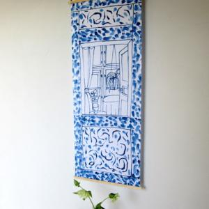 マリアンヌ・ハルバーグの手ぬぐいで、玄関をブルーに模様がえ