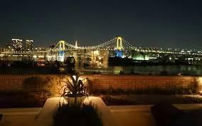 【部屋のバルコニーから眺める東京湾夜景】『ヒルトン東京お台場 』20181126