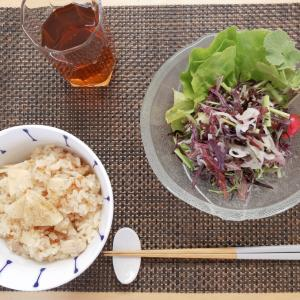 タケノコ、鶏肉。からし菜、ラディッシュ、オニスラ、サラダ菜