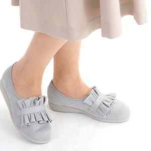 快歩主義L160 シルバー 【 3E 】 フリルデザインが足元を華やかに・ニットを使用しており足あたりが柔らか