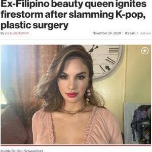 【韓国の粘着質】「K-POPが大嫌い」「フィリピン人はアイディンティティを持って」元ミス・フィリピンの投稿でSNS炎上