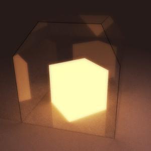 ガラス越しの発光物