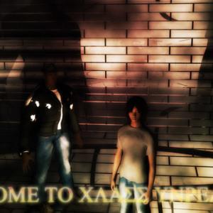 暗い室内に男性が二名