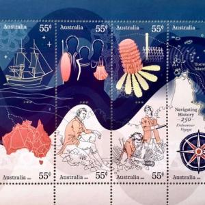 ジェームス・クックの250周年記念切手が素敵