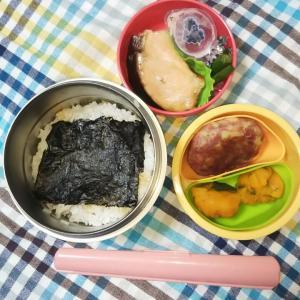 女子中学生弁当(塩鮭とじゃがバーグ他)