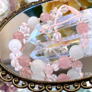 とっても優しくて可愛いピンク色のパワーストーンブレスレット♪愛の石言葉たっぷりです②