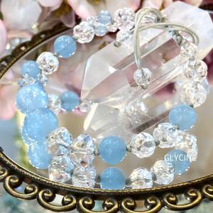 天使の石♪3月の誕生石アクアマリンと水晶の新作パワーストーンブレスレット②