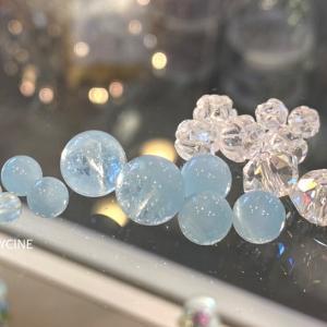 天使の石♪3月の誕生石アクアマリンと水晶の新作パワーストーンブレスレット①