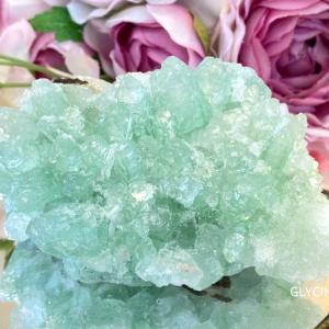 メロン味のかき氷みたい♪水晶とフローライトのキラキラ輝く夏のパワーストーンブレスレット完成です②