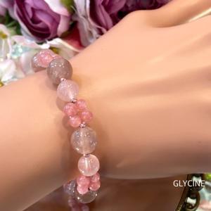 大人っぽい桃色のパワーストーンブレスレット♪優しい可愛いピンク色に癒されてください~②