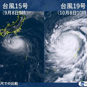 【悲報】台風19号さん、やっぱり東京壊滅コースだった「普通の台風よりクソ強いの草」「わい千葉県民、高みの見物」「千葉直撃コースやぞ?」2chなんJ台風19号まとめ