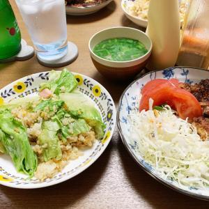 おうちごはん6/13 とんかつとレタス炒飯