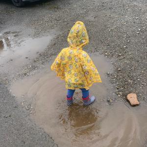 一歳8ヶ月 雨の日はレインコートでお散歩