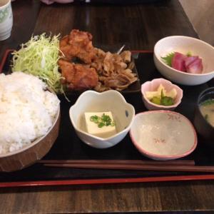 魚膳の焼肉からあげ定食(刺身付き)
