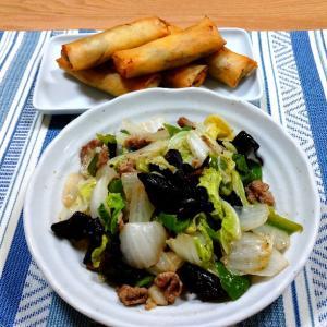 野菜炒めと春巻