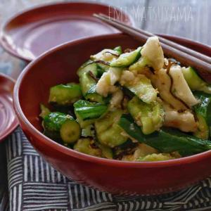 やみつき*たたききゅうりとたたき長芋の塩昆布和え*ポリ袋使用