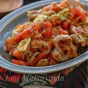 長女の冷麺弁当と*チキンソテー・フレッシュトマトとしらすのガーリックソース*