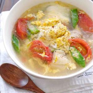 *鶏肉とトマトのうま塩春雨スープ*