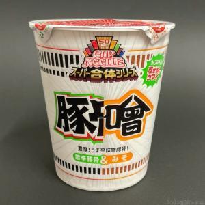 日清食品の『カップヌードル とんそ(スーパー合体シリーズ 味噌&旨辛豚骨)』ピリ辛な豚骨味噌で超おいしい!