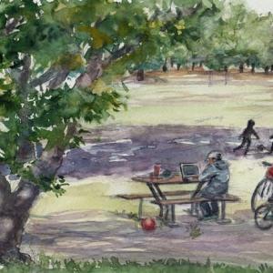 公園でのテレワーク