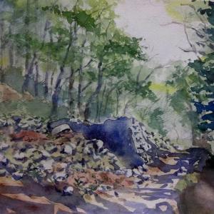 石垣と大鍋のある登山道