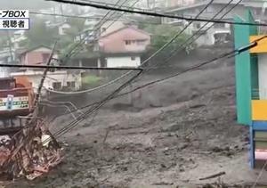 暗渠の上を土石流