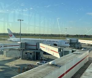 JA日本航空にてイギリスから羽田空港へ