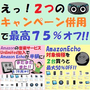 AmazonEcho:えっ!2つのキャンペーン併用で最高75%オフ!!(今日まで!!)
