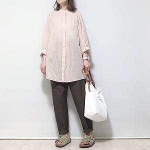 〇〇13日*着画*UNIQLOU…シアーバンドカラーシャツ(長袖)〇〇
