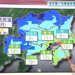 関東で初の冬日予想
