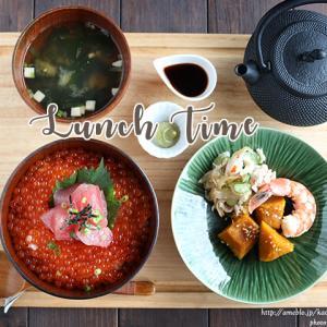 贅沢!たっぷりイクラ丼定食のお家ランチ