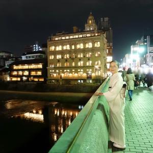 入院直前に、鴨川河畔の東華菜館で北京料理!着物も帯もオールホワイトコーデ