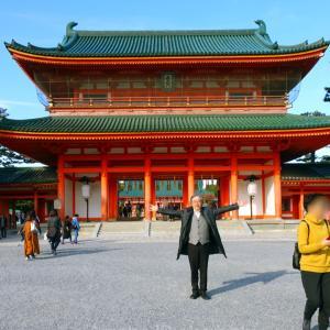 入院3日目、外出し平安神宮神苑で紅葉!白鳥紬着物に紫茶鼠大胆縞の白鳥紬帯